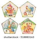 cristmas set of watercolor...   Shutterstock . vector #518883163