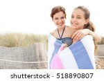 sisters with heads together... | Shutterstock . vector #518890807