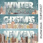 winter cityscape.city... | Shutterstock .eps vector #518910427