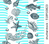 Sea Pattern With Stripes. Hand...