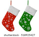two christmas sock on a white... | Shutterstock . vector #518925427