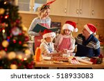 family with children preparing... | Shutterstock . vector #518933083