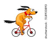 cute dog riding a bicycle.... | Shutterstock .eps vector #518933893