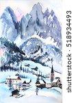 christmas mountain postcard... | Shutterstock . vector #518934493