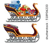 set of iron sleigh of santa... | Shutterstock .eps vector #518936233