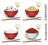 collection of rice bowl and... | Shutterstock .eps vector #518944393