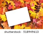 empty card copy space on autumn ... | Shutterstock . vector #518949613