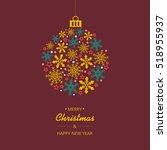 merry christmas background. eps ... | Shutterstock .eps vector #518955937