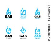symbols gas industry. set of... | Shutterstock .eps vector #518960917