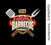 barbecue menu logo emblem... | Shutterstock .eps vector #518960953