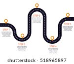 winding road with pin pointer.... | Shutterstock .eps vector #518965897