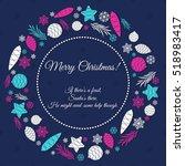 christmas wreath of fir tree... | Shutterstock .eps vector #518983417