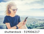 young smiling woman with curly... | Shutterstock . vector #519006217