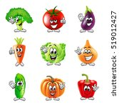 funny cartoon vegetables icons... | Shutterstock .eps vector #519012427