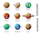 funny cartoon planets icons... | Shutterstock .eps vector #519012487