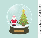 christmas snowglobe with fir...