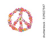 Hippie Print With Peace Flower...