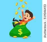 businessman with big money bag | Shutterstock .eps vector #519046453