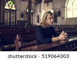 woman sitting church religion... | Shutterstock . vector #519064303