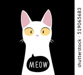 funny white cat with meow. cute ... | Shutterstock .eps vector #519065683