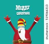 vector rock n roll santa claus... | Shutterstock .eps vector #519066313