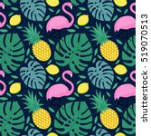 seamless pattern with flamingo  ... | Shutterstock .eps vector #519070513