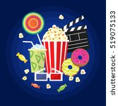 vector flat movie elements with ... | Shutterstock .eps vector #519075133