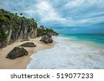 white sand beach and ruins of... | Shutterstock . vector #519077233