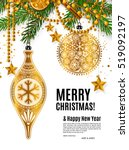 christmas card with golden... | Shutterstock .eps vector #519092197