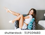 young brunette girl in shirts... | Shutterstock . vector #519104683