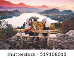 family travel europe. bled lake ... | Shutterstock . vector #519108013