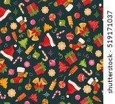 christmas seamless backround... | Shutterstock .eps vector #519171037