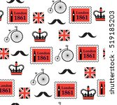 British Retro Seamless Pattern...