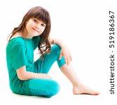 little girl sitting and smiling ... | Shutterstock . vector #519186367