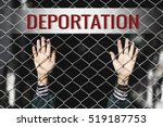 Small photo of Deportation text of women and fence. Refugee concept