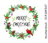 christmas wreath and bouquets... | Shutterstock .eps vector #519189547