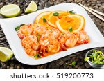 honey glazed shrimp with orange ... | Shutterstock . vector #519200773