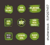 set of green stickers with the... | Shutterstock .eps vector #519207457