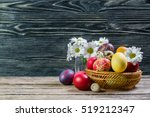 Easter Painted Eggs On Wooden...