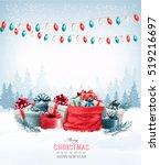 christmas presents with a... | Shutterstock .eps vector #519216697