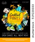 cocktail party poster design.... | Shutterstock .eps vector #519220333