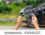 Small photo of Close up hand of woman holding smartphone and take photo of car accident