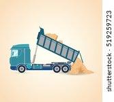tipper unloading. vector... | Shutterstock .eps vector #519259723