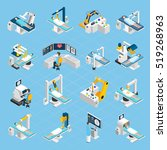 robotic surgery isometric icons ... | Shutterstock . vector #519268963
