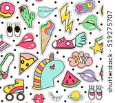 seamless pattern with fashion... | Shutterstock .eps vector #519275707