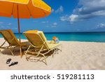 view of two sunbeds and... | Shutterstock . vector #519281113