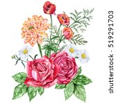 Stock photo red roses orange dahlias poppies and daisies large bouquet of autumn flowers watercolor hand 519291703