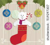 teddy bear gift christmas vector | Shutterstock .eps vector #519297307