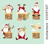 santa claus chimney collection... | Shutterstock .eps vector #519297337