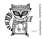 raccoon isolated. cute cartoon... | Shutterstock .eps vector #519299473